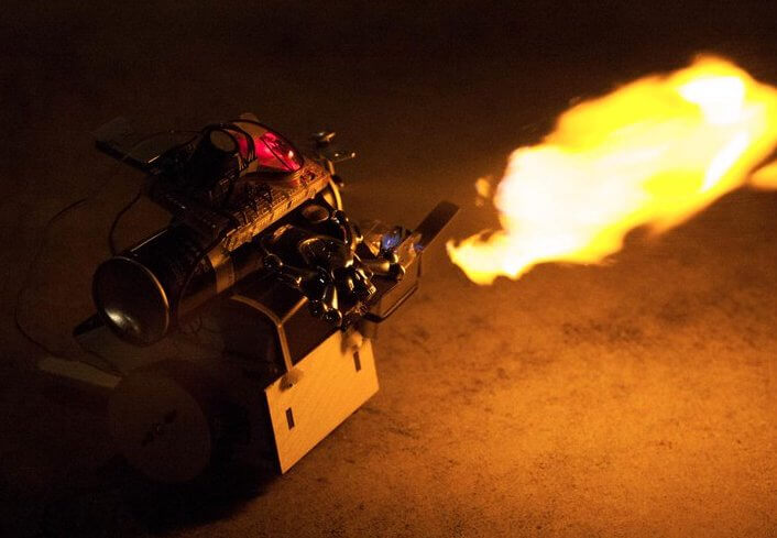 Flame spewing NodeBot